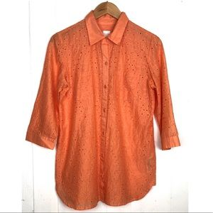 CHICO'S EMBROIDERY BUTTON DOWN SHIRT 3/4 SLEEVE O